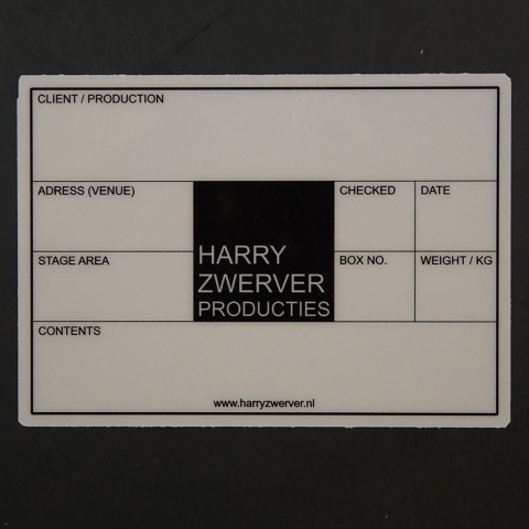 Flightcaselabels Caselabels HARRY ZWERVER PRODUCTIES