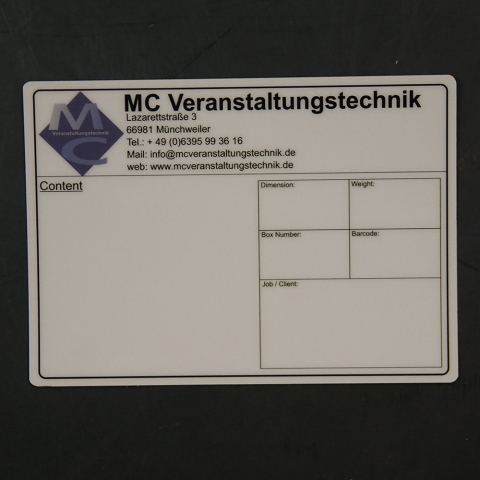 Flightcaselabels Caselabels MC VERANSTALTUNGSTECHNIK